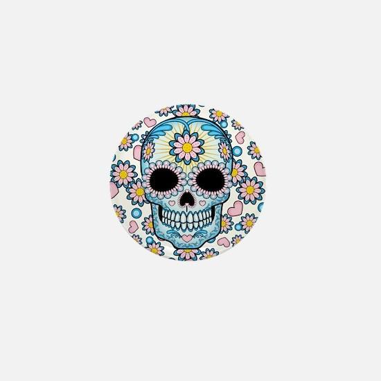 Colorful Sugar Skull Mini Button