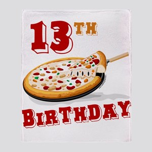 13th Birthday Pizza party Throw Blanket
