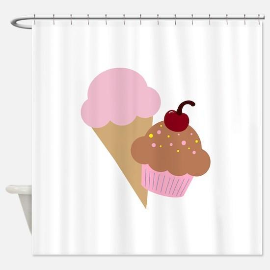 Sweet Treats Cupcake and Ice Cream Shower Curtain