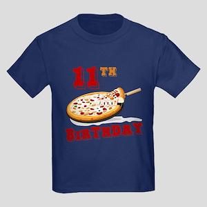 11th Birthday Pizza Party Kids Dark T-Shirt