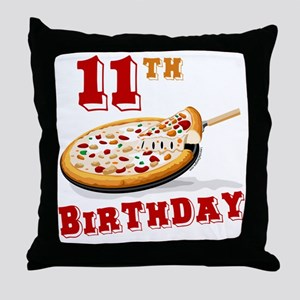 11th Birthday Pizza Party Throw Pillow