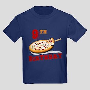 9th Birthday Pizza Party Kids Dark T-Shirt