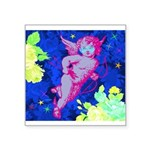 Disco Cupid Angel Graphic Square Sticker 3
