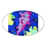 Disco Cupid Angel Graphic Sticker (Oval)