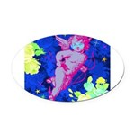 Disco Cupid Angel Graphic Oval Car Magnet