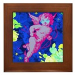 Disco Cupid Angel Graphic Framed Tile