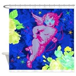 Disco Cupid Angel Graphic Shower Curtain