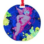 Disco Cupid Angel Graphic Round Ornament