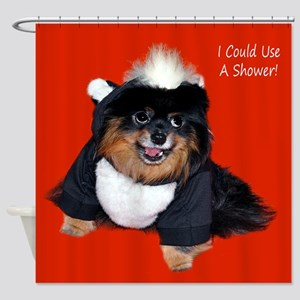 Pomeranian Skunk Shower Curtain
