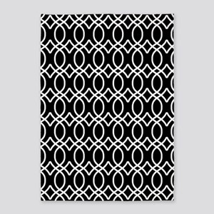 Black and White Roman Ogee Pattern 5'x7'Area Rug