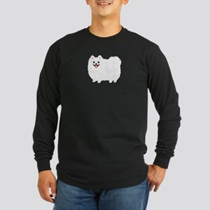 White Pomeranian Long Sleeve Dark T-Shirt
