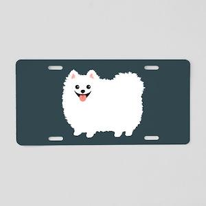 White Pomeranian Aluminum License Plate