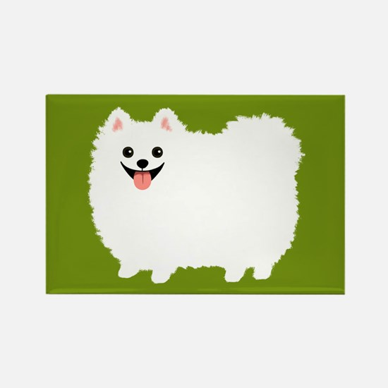 White Pomeranian Rectangle Magnet
