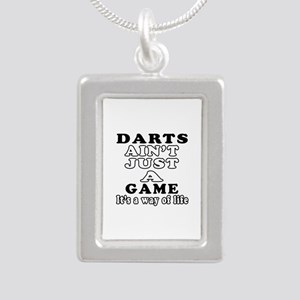 Darts ain't just a game Silver Portrait Necklace