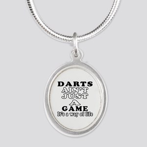 Darts ain't just a game Silver Oval Necklace