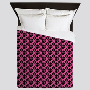 Dog Paws Bright Pink Queen Duvet