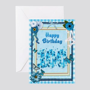 100th birthday craft-look card Greeting Cards (Pk
