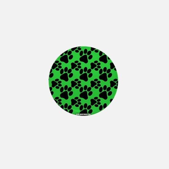 Dog Paws Green Mini Button