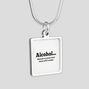Alcohol Silver Square Necklace
