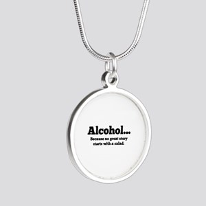 Alcohol Silver Round Necklace