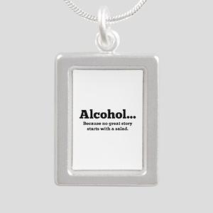 Alcohol Silver Portrait Necklace
