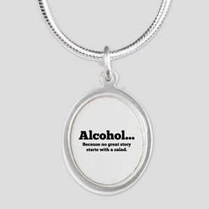 Alcohol Silver Oval Necklace
