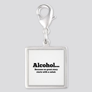 Alcohol Silver Square Charm