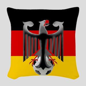 German Soccer Flag Woven Throw Pillow
