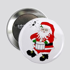 Santa Plays a Drum Christmas Button