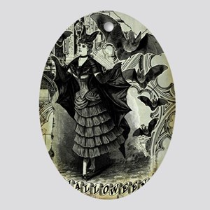 Victorian Halloween Bat Collage Ornament (Oval)