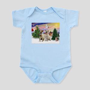 Treat for 2 Yellow Labs Infant Bodysuit