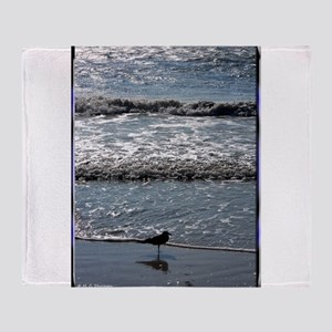 Seagull, waves, photo, Throw Blanket