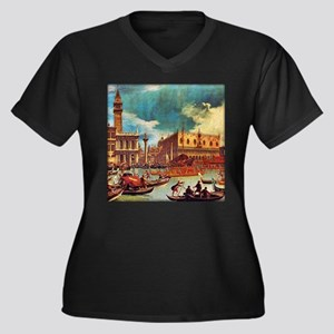 Canaletto: B Women's Plus Size V-Neck Dark T-Shirt
