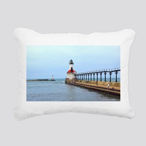 Michigan City Lighthouse Rectangular Canvas Pillow