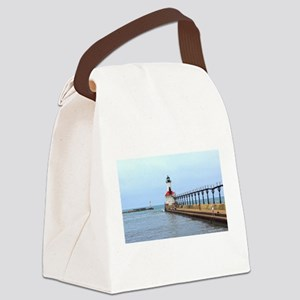 Michigan City Lighthouse Canvas Lunch Bag