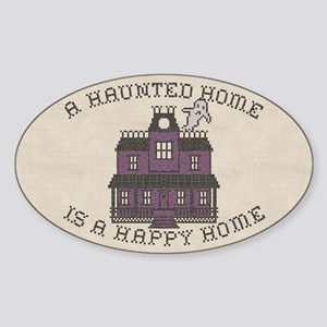 Haunted Home Happy Home Sticker (Oval)