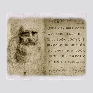 Da Vinci Animal Quote Throw Blanket