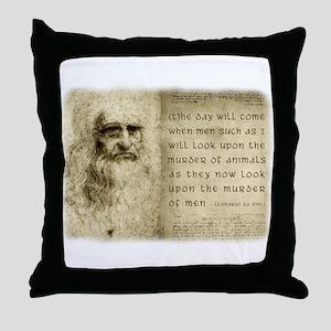 Da Vinci Animal Quote Throw Pillow