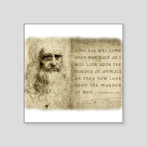 """Da Vinci Animal Quote Square Sticker 3"""" x 3"""""""
