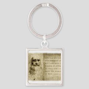 Da Vinci Animal Quote Square Keychain