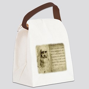 Da Vinci Animal Quote Canvas Lunch Bag