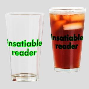 insatiable reader Drinking Glass