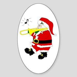 Santa Plays Trombone Christmas Oval Sticker