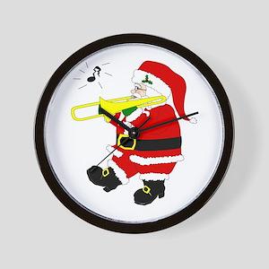 Santa Plays Trombone Christmas Wall Clock