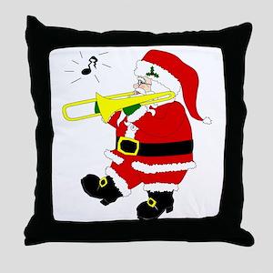 Santa Plays Trombone Christmas Throw Pillow