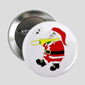 Santa Plays Trombone Christmas Button