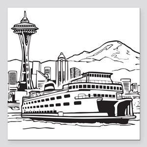 """Space Needle and Ferry Square Car Magnet 3"""" x 3"""""""