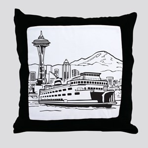 Space Needle and Ferry Throw Pillow