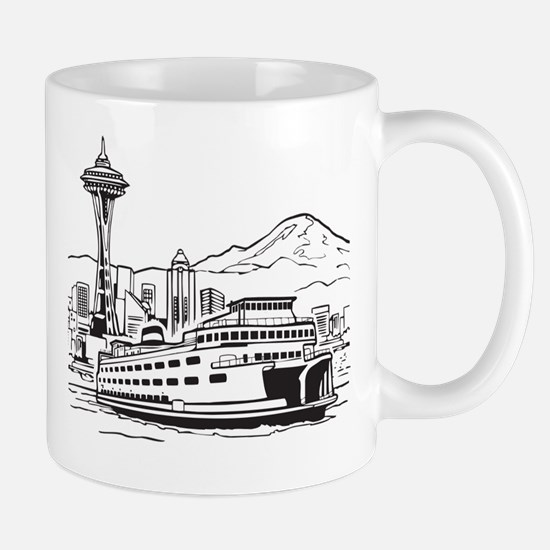 Space Needle and Ferry Mug