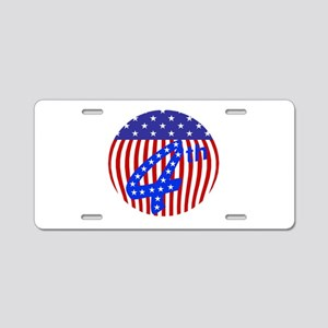 Red white and blue 4th of July flag Aluminum Licen